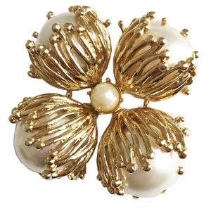 Vintage St John Faux Pearl Brooch Abstract Pin